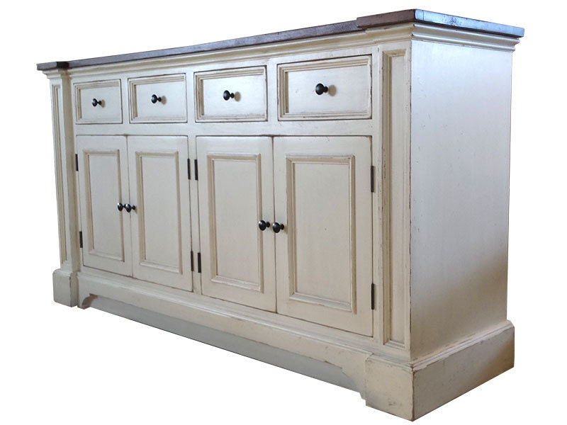 🔎zoom - Side Board White Server Rustic White Buffet / Shabby Chic