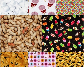 FOOD Cotton Fabric by Timeless Treasures!  Snacks & Sweets! [Choose Your Cut Size]