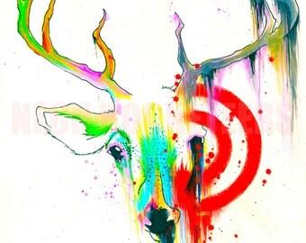 8x10 Original Deer Target Colorful Watercolor Antler Animal Nature Art Print