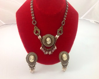 REDUCED Shipping Vintage 1980s Sorrelli Cameo Crystal Demi-Parure