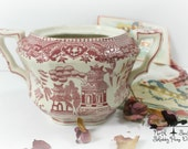Red Transferware Sugar Bowl Vintage Moriyama Japanese Bowl, Shabby Home Decor, Romantic Home Decor