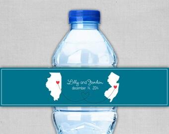 Customizable Wedding Water Bottle Labels- Long Distance Love- Printable