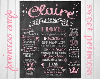 Princess First Birthday Chalkboard - Princess 1st Birthday Chalkboard Printable File