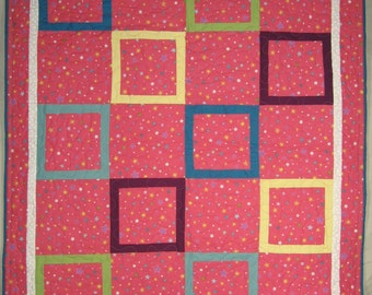 Baby Quilt, Pink with Stars