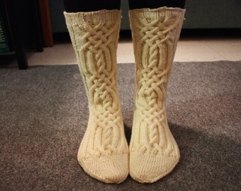 Cozy Wool Cable Knit Socks