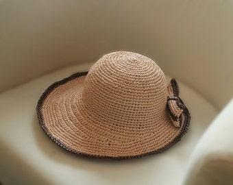 crochet raffia straw big brim  hat,floppy straw sun hat with bow,nature color straw hat