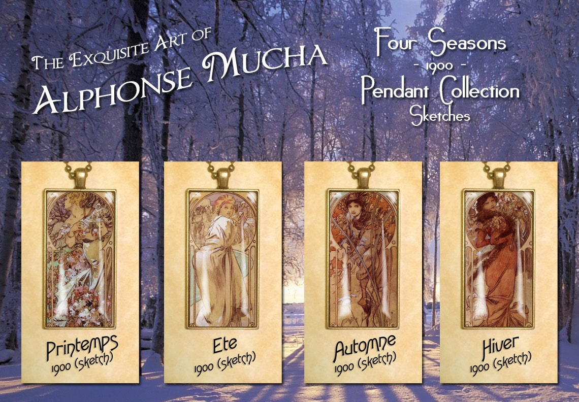 Alphonse Mucha sketches for The Seasons 1900