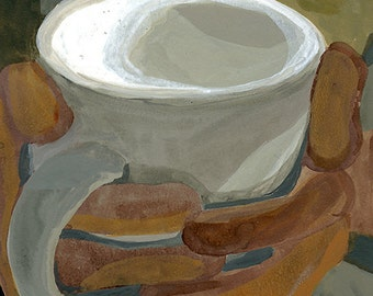 Hands Holding Coffee Mug Abstract India Ink Painting