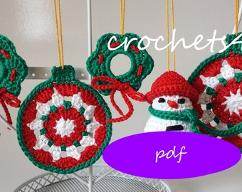 3 crochet patterns christmas, bauble, wreath, snowman, crocheted christmas decoration, crochet christmas