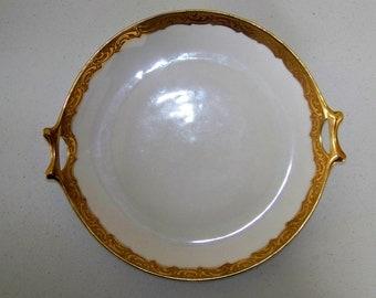 Hutschenreuther Selb Bavaria Antique Handled Gold Trim Platter