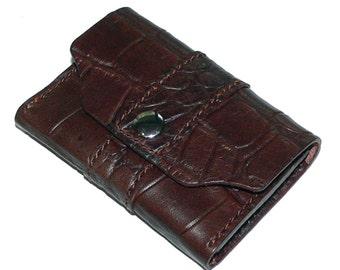 Dark Brown Leather Business Card Case, Crocodile Grain Leather