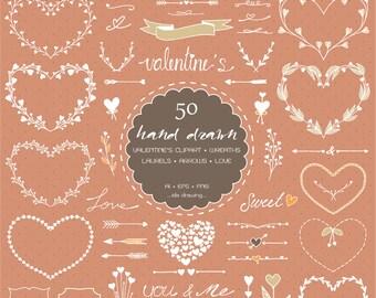 50 Hand Drawn Valentine's Day Digital Clipart - Valentine's Clipart - Wedding Floral - Heart Wreath - Chalkboard Wedding-Arrows-Laurels-Love