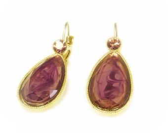 Purple Swirled Art Glass Earrings with Pink Rhinestone Accents
