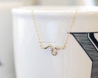 Tiny gold snake necklace...dainty handmade snake necklace, everyday, simple, birthday, bridesmaid, wedding gifts
