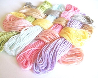 8 Skeins Set of Cross Stitch Floss - 100 % cotton Floss - Easter Basket