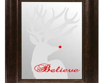 Rudolph 'Believe' Mirror