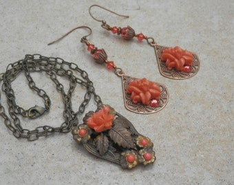 Charming Necklace and Earrings Set from Vintage Coral Glass Components