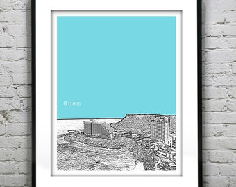 Guam Skyline Poster City Art Print
