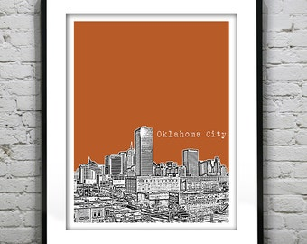 Oklahoma City Oklahoma Skyline Poster Art Print OK Image Version 3