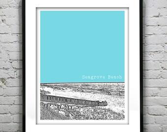 Seagrove Beach Florida Skyline Poster Art Print FL
