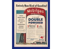 "MOBILGAS GASOLINE Original 1954 Vintage Extra Large Print Ad - ""Entirely New Kind of Gasoline!""; Cars In Long Line At Mobil Gas Station Pump"