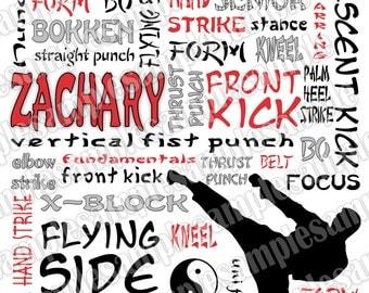 Karate Collage Art Poster 11x14