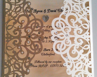 Ivory Pearl Laser Cut Wedding Invitation with Diamante and Pearl