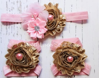 PINK/ GOLD set,   Barefoot sandals and headband set, headband and barefoot sandals for infants and toddlers.