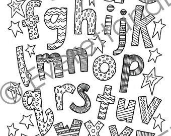 "Digital Download ""Lowercase Letters"" Coloring Page"