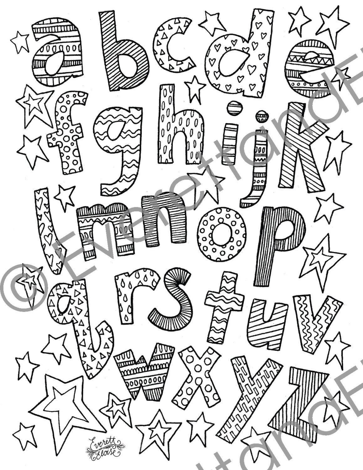 digital download lowercase letters coloring page