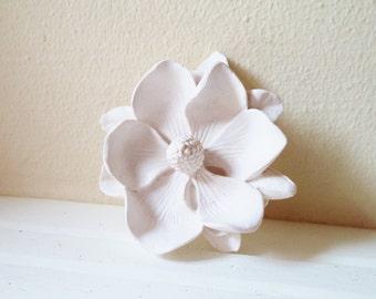 Magnolia flower wall sculpture, 3d wall flower, modern minimalist indoor garden