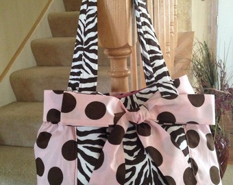 Pink Polka Dots Diaper Bag