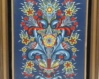 Norwegian Rosemaling as a framed painting