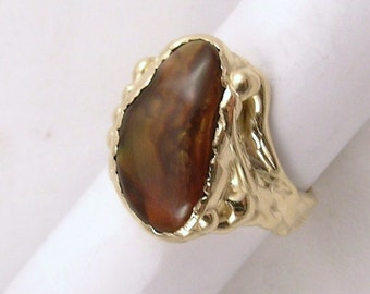 Fire Agate Ring 14k yellow gold