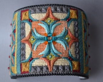 Needlepoint Cuff, Fiber Cuff, Embroidered Cuff, Cuff, Bracelet, Handmade, OOAK