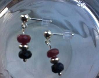 Ruby and Sapphire Sterling Silver Earrings