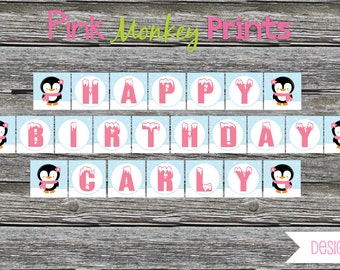 DIY - Girl Winter Penguin Birthday Party Birthday Name Banner # 362- Coordinating Items Available