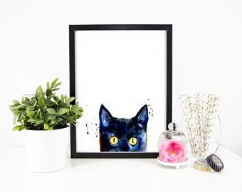 Minimalist Peeking Black Cat Art Print - Print of my Original Watercolor Painting
