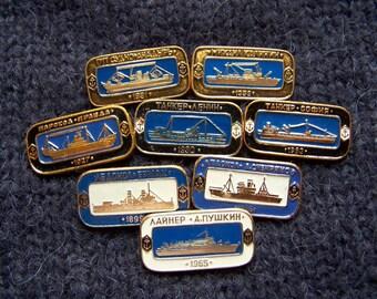 8 Vintage Soviet NAVY Pins Badges USSR the 1970s Soviet Ships Lenin, Pravda, Kalinin, Sofija