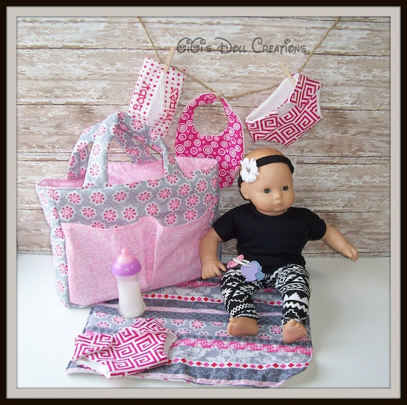 Doll Diaper Bag Set For Bitty Baby Or Other 15 Inch Dolls