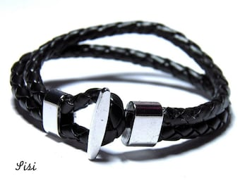 Black men bracelet leather