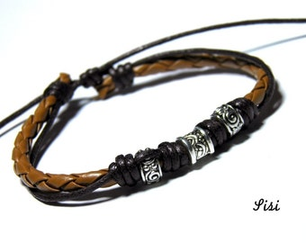Three silver beads bracelet brown leather