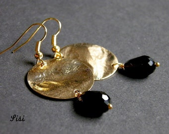 Gold disc earrings drop