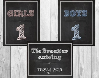 Tie Breaker coming, Girls and Boys - 3 Chalkboard Announcement Printable files- Announcing baby/ pregnancy announcement 8x10