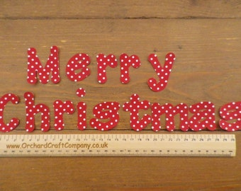 Merry Christmas (No Sew)  5 cm iron on letters, For Santa sacks, Xmas Stockings