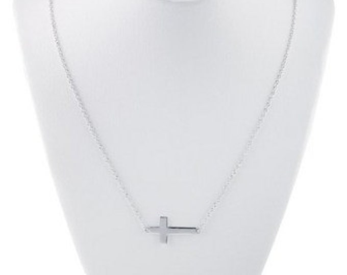 "Rhodium Plated Sterling Silver 18"" Sideway Cross Festoon Necklace ~ FREE SHIPPING"