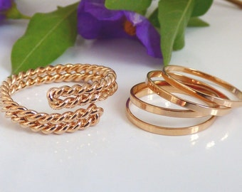 Rose Gold Twist Ring ,Set of 1 Rose Gold twist ring and 4 Rose Gold  Knuckle Rings, Above knuckle rings, Rose Gold Twist ring