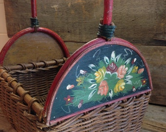 1900s American Antique Basket Handwoven Handled Hand Painted