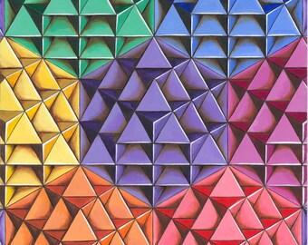 Powerful Art Print ~ Infinite 64 Tetrahedron Grid