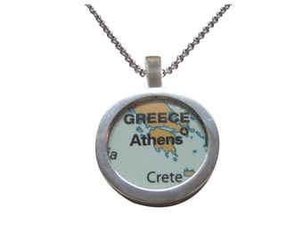 Athens Greece Map Pendant Necklace